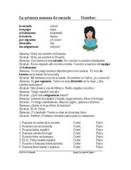 First Week of School Spanish Reading - La primera semana de escuela Lectura