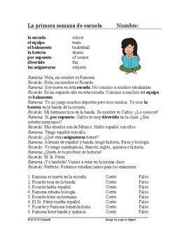 First Week of School Spanish Reading - Primera semana de escuela Lectura