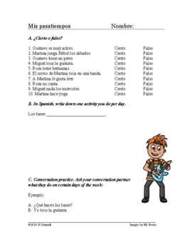 Mis pasatiempos Lectura - Spanish Reading and Worksheet - Script about Hobbies