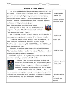 Spanish Reading:  Indirect Object pronouns