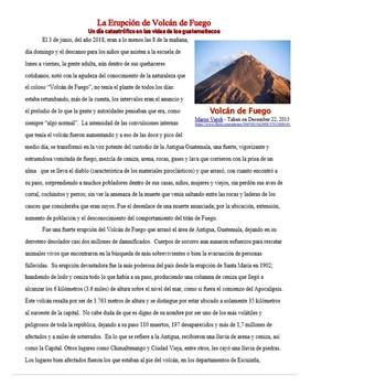 Spanish Reading - La Erupción del Volcán de Fuego