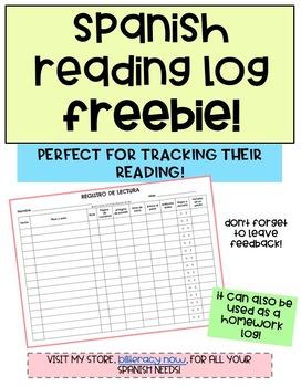 Spanish Reading Log FREEBIE Registro de lectura Gratis