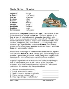 Machu Picchu Lectura Cultural - Spanish Reading