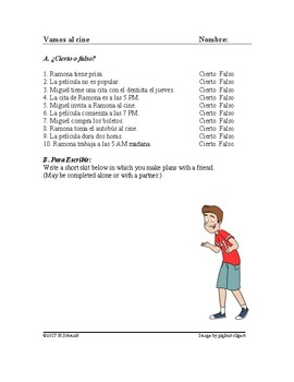 Vamos al cine Lectura - Haciendo planes: Spanish Reading on Making Plans