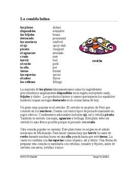 La comida tradicional Lectura ~ Latin Food Reading
