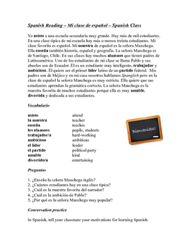 Mi clase de español Lectura Simple ~ Spanish Class Reading