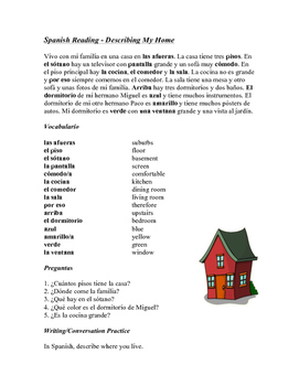 Mi casa Lectura ~ My house Beginner Reading (noun+adjectiv