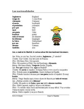 Nationalities and Languages Spanish Reading - Nacionalidades y lenguas Lectura