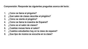 Spanish Reading Passage about classroom objects