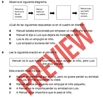 Spanish Reading Passage with Questions and TEKs - Reading Assessment