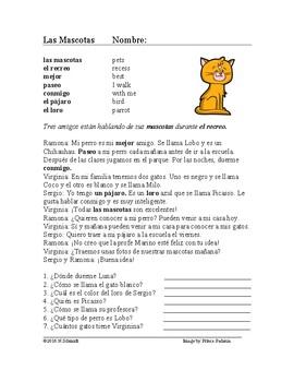 Las mascotas ~ Perros y Gatos Lectura ~ Pets Simple Spanis