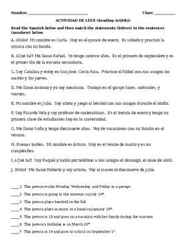 Spanish Reading Practice - Calendar Dates