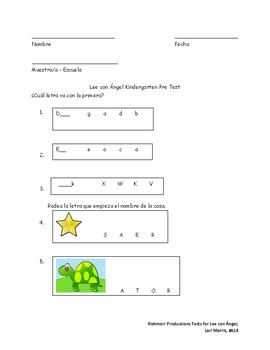 Spanish Reading Pre-test for Kindergarten students