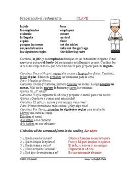 Spanish Reading with Uds. Commands: Preparando el restaurante Lectura:Imperativo