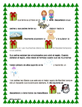Spanish Reading Christmas Rebus Story