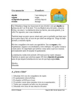 Subjunctive Spanish Reading ~ Renting an Apartment ~ Lectu