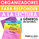 Spanish Reading Response Organizers - Fiction, NF, Poetry, Drama, Lit NF!