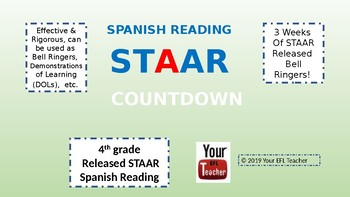 Spanish STAAR Reading Bell Ringers - Materials for 3 weeks! Different TEKS