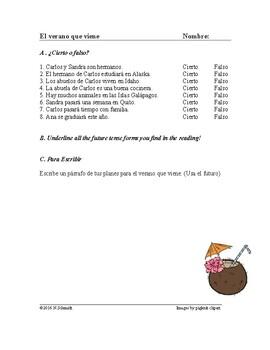 El verano Lectura - Summer Spanish Reading (future tense)