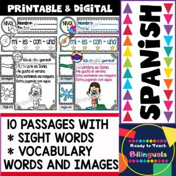 Spanish Reading - Summer/Verano - 10 Guided Reading Passages - Level 1