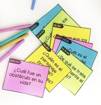 Spanish Reading Task Cards! Open-ended! Use with any book, passage, or article!