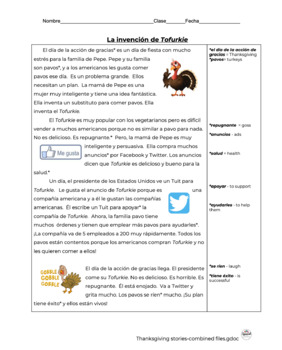 Spanish Reading: Thanksgiving