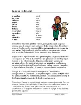 Spanish Reading ~ La ropa tradicional Lectura ~ (sombrero,