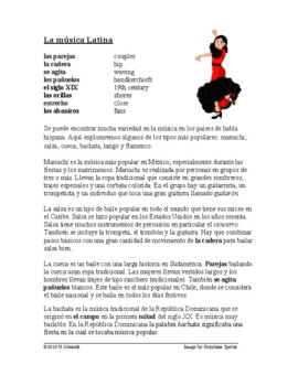 Spanish Reading on Traditional Music ~ Música Latina Lectu