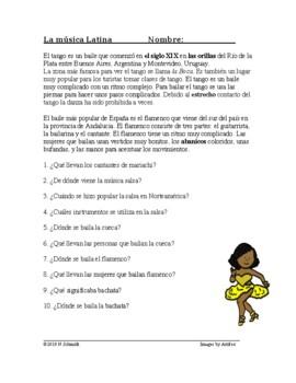 Spanish Reading on Traditional Music - Música Latina Lectura - Mariachi, Salsa