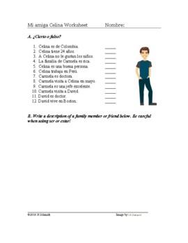 Spanish Ser y Estar Reading + Worksheet: Mi amiga Celina Lectura