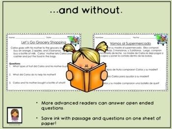 Reading Comprehension Kindergarten Bilingual English and Spanish