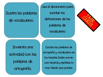 Spanish Reading and Vocabulary Task Cards