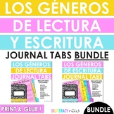 Spanish Reading and Writing Genre Tabs for Journals