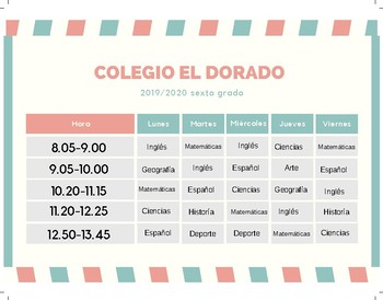 Spanish Reading comprehension School schedule