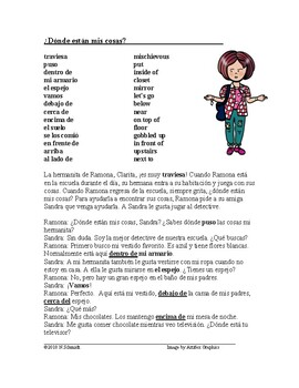 Spanish Reading with Prepositions of Place: ¿Dónde están mis cosas?