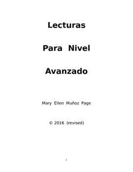 Spanish Readings for Advanced Level  (Revised)