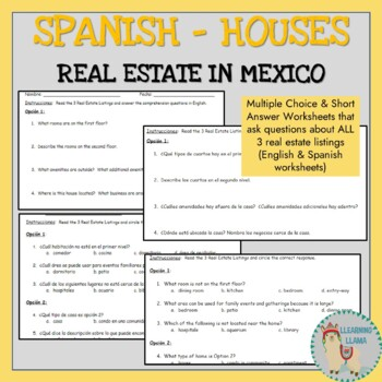 Spanish Real Estate Homes Interpretive Readings and Conditional Writing Task
