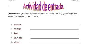 Spanish Realidades 1 1-A Vocabulary Word Scramble (11 words/phrases)
