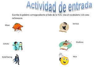 Spanish Realidades 1 1-B Vocabulary Entry Activity with 14 Pictures
