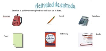 Spanish Realidades 1 2-A Vocabulary Entry Activity with 14 Pictures