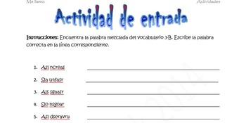 Spanish Realidades 1 (1A-7B) Bundle of 14 Scrambled Words Activities
