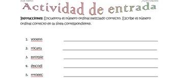 Spanish Realidades 1 2-A Ordinal Number Word Scramble (11 words/phrases)