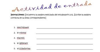 Spanish Realidades 1 2-A Vocabulary Word Scramble (11 words/phrases)