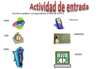 Spanish Realidades 1 2-B Vocabulary Entry Activity with 12 Pictures