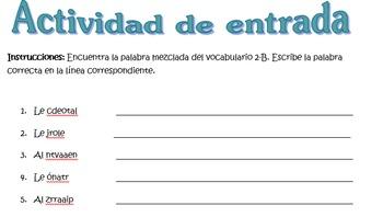 Spanish Realidades 1 2-B Vocabulary Word Scramble (11 words/phrases)