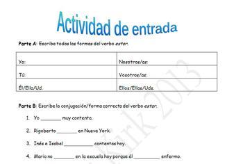 Spanish Realidades 1 2B Estar Entry Activity/Exit Ticket