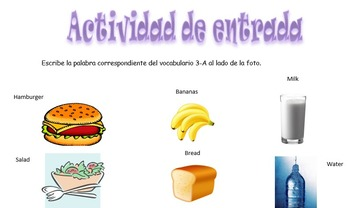 Spanish Realidades 1 3-A Vocabulary Entry Activity with 15 Pictures