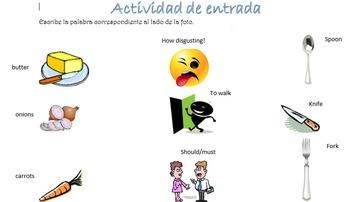 Spanish Realidades 1 3-B Vocabulary (Food/Health) Entry Activity with 19 Photos