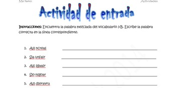 Spanish Realidades 1 3-B Vocabulary Word Scramble (11 words/phrases)