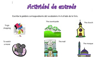 Spanish Realidades 1 4-A Vocabulary Entry Activity with 15 Pictures